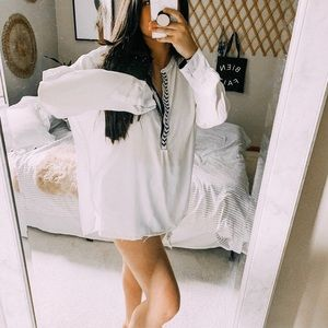 White oversized popover tunic boho top